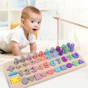 Montessori Educación juguetes de madera para niños de mesa matemáticas magnética números Cuenta Pesca adapta a esta forma de ajuste de juguete Educación Temprana