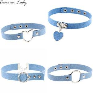 Blaue Denim-Herz-Anhänger-Halskette für Frauen-Jeans Chokers Tätowierung Collar Collier ras de cou colar Bijoux femme CR037
