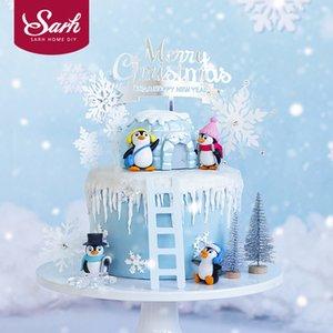 Cappello della sciarpa di inverno Penguin slide cake topper per Baby Shower fiocco di neve Xmas Party Baking Supplies Decorazioni Dessert amano i regali