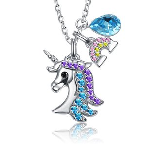 Fashion love Colorful crystal unicorns Pendant Necklace and earrings for girlfreind gift with gift box