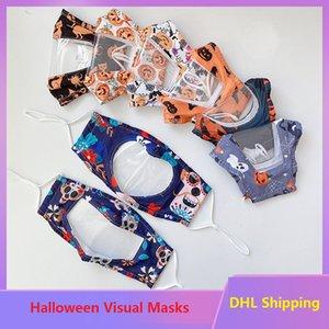 Adultos transparentes Máscaras de Halloween Visuales de labios Lenguaje Visual Máscaras triángulo invertido en forma de corazón Visual boca cara cubierta OWE1775