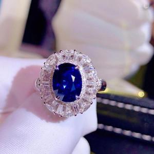 Anelli a grappolo H826 Blue Zapphire Anello 2.66CT REAL PURE PURE 18 K NATURALE IMANCE ROYAL Diamonds Diamonds Diamonds Femmina