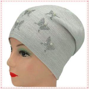New winter women's golden thread knitted hat, butterfly Pearl female beanie Baotou, female warm hat