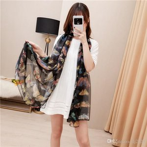 New fashion women's beach scarf shawl and women's scarf butterfly print long soft scarf for women's veil