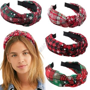 Xmas Plaid Headband Hair Wraps Big Girls Snowflake Plaid Print Bowknot Hair Hoop Hairpin For Christmas Party Kids Hair Accessories D91702
