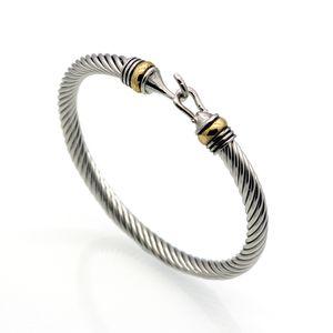 Toptan (10 adet) Moda Titanyum Paslanmaz Çelik Erkekler Kanca Bilezik Altın Çelik Renk Büküm Kablo Tel Bileklik Bilezik