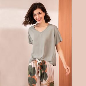 JULY'S SONG Floral Printed Pyjama Sleepwear Female Casual V Neck Short Sleeve Elastic Waist Nightwear Retro Women's Pajamas Sets 200919