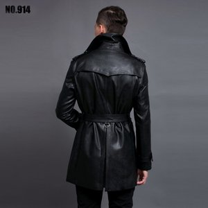 Luxury Black Jacket Wash Pu Leather Trench Coat For Mens Plus Size 6xl Fashion Double Breasted Man Jackets