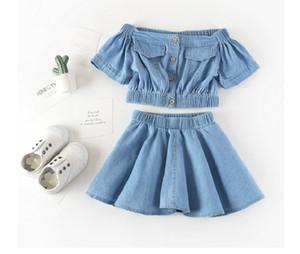 girls 2pcs set suits girls denim short style tops T shirts+girls Denim skirt suit baby girls set kids clothes