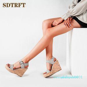 SDTRFT Crossdresser Sexy platform summer 11cm sandals wedges high heels Comfortable pumps women's wedding shoes femmes sandale y01