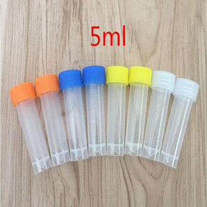 1000pcs 5ml Plastic Frozen Test Tubes Vial Screw Seal Cap Pack Container with Silicone Gasket