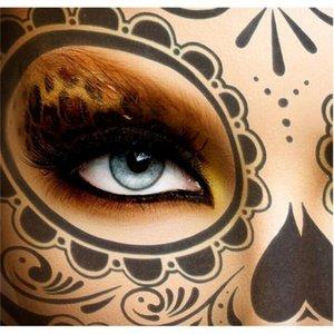 De Halloween Etiqueta Cara Gb1097 Partido cráneo tatuaje temporal a prueba de agua de belleza decoración del arte del agua de azúcar Accesorios Máscara de Transferencia Cbned
