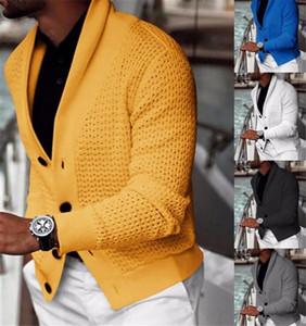 Зимние мужские дизайнерские свитер повседневный сплошной цвет с длинным рукавом кардиган свитер Новая зимняя осень мужская одежда