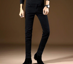 2020 Band Slim style Men Brand Jeans Business Casual Stretch Slim Denim Pants Light Blue Black Trousers66