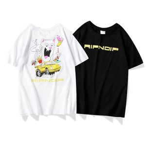 RIPNDIP High quality fashion designer clothing Middle finger cat big mouth yellow car printing short sleeve cotton t-shirt for men and women