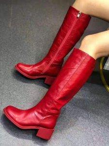 Сапоги Vibsterimma Красные кожаные Коленые Женщины Подлинная Высокая езда 4 Цвета
