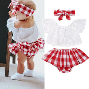 Baby Girl Sweet Clothes Infant Plaid Cute Newborn Baby Girl 3pcs Off Shoulder Tops+ Short Dress+headband Outfits 0-24 Months