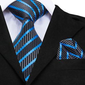 Luxury Silk Tie 2020 Brand Desiger Fashion Blue Striped Ties for Men Business Formal Neck Tie Handky without Cufflinks CZ-007