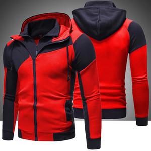 Marca dos homens hoodies moletom 2020 novo outono inverno retalhos com capuz velo agasalho masculino quente com capuz zíper roupas 0915