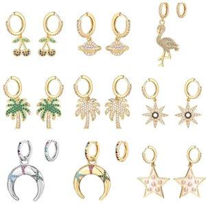 Hecheng 1pair pequeno Hoop Brincos atacado arco-íris CZ Jewelry cor de ouro accessries Cherry Tree para as mulheres