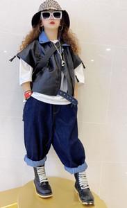 Art und Weise scherzt Lederjacke Jungen-Mädchen-Denim-Revers-Patchwork PU-Leder-Reißverschluss-Kurzschluss-Hülsen-Jacken-Kinder All-Gleiches Weste A4212