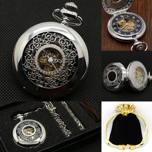 Hand Winding Mechanical Pocket Watch Sliver Dial Luxury Men Fob Watches Customized Retro Clock Father Present Necklace reloj T200502