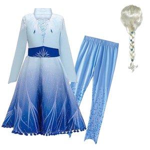 Cappotto nuovo anno costume Snow Queen 2 ragazze Elza Dress bambini e le ghette di Natale principessa Vestito elegante costume Elza Dress up