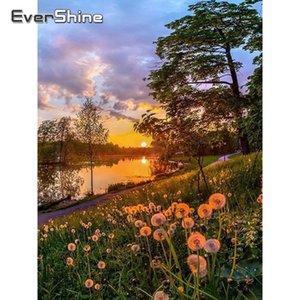 Evershine Diamante pintura de paisagem Flor Dandelion Full Set Cross Stitch Kit Diamante bordado cheio Praça Mosaic