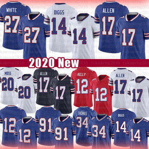 Buffalo 17 Josh Allen Bill 14 Stefon Diggs 27 Tre'Davious Branco Football Jersey 49 Tremaine Edmunds 91 Oliver 20 Zack Moss Jim Kelly Thurman
