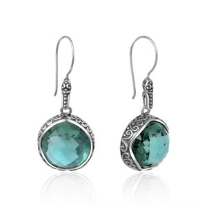 5ebyC New 925 inlaid round cut Thai silver green crystal Silver fashion Crystal and earrings earrings
