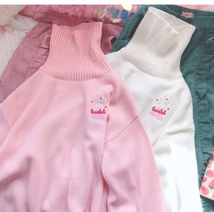 2020 Autumn and Winter Women's Cute Love Lab Anime Letters Embroidery High Collar Turtle Neck Pink Harajuku Sweet Knit Sweater