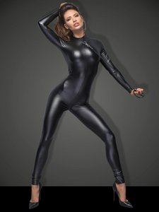 Plus Size Black Long Sleeve Bodysuit Exotic Catwoman Skinny Jumpsuit Sexy Zipper Open Crotch Catsuit Lady Novelty Party Clubwear