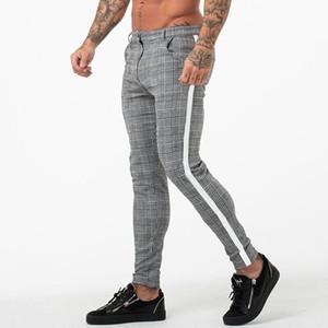 Plaid Pants Men Joggers Sweatpants Tight Pant Bottom Fashion Male Skinny Trousers Office Man Pant Jogger Casual Men Pants