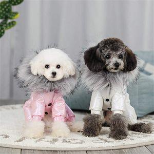 Luxury Collar Fur Winter Pets Windproof Dogs Outerwears Coats Teddy Cats For Fox Schnauzer Costume Jackets Autumn Gooju