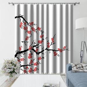Haute qualité Blackout Curtain fleur de prunier rouge Salon Chambre rideau chinois Grande impression 3D