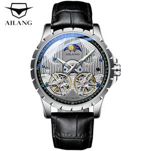 Pelle AILANG Svizzera uomini nuovissimo orologio design Tourbillon Mens meccanica Moon Phase Lusso Uomo orologi Skeleton Clock