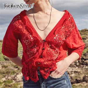 TWOTWINSTYLE Hollow Out T Shirt Sexy V Neck Floral Patchwork Half Sleeve Palazzo T Shirts Top 2020 Summer Vintage New Clothing 0924