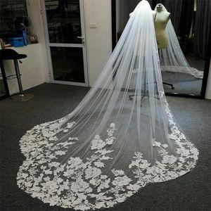 2021 Elegant Wedding Veils Lace Applique White Ivory Champagne Long Bridal Veil Custom Made Wedding Accessories