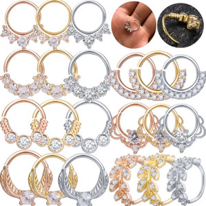 ZS 1PC Nose Septum Ring Daith Crystal Tragus Cartilage Piercing Earrings Helix Clicker industrial Conch Rook Piercing Jewellery