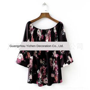 şifon 8547 için FCsiy sleeveshoulder kelebek kadın Boatneck baskılı kadınlar Kelebek Gömlek gömlek bluz