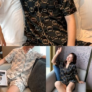 casa pijama de gelo de verão do Pijama Homens tqujb Silk 4GkXH de manga curta silk personalizado wo vermelhas mesmos silk-like casal casa roupas online para T