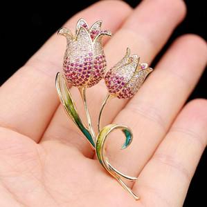 Tulip Броши Мужчины Женщина броши Bling Rhinestone ювелирных изделия Классические броши для Мужчины высокого качества груза падения