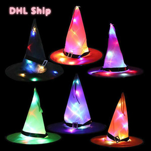 DHL US Stock Halloween LED Hats Halloween Party Decorations Hats Prom Supplies Bandage Hat Luminous Witch Hat Wizard Hats