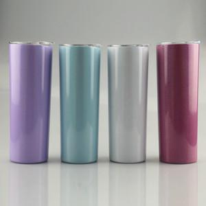 20 once Arcobaleno Stampa Bottiglia di sublimazione Skinny i bicchieri con paglia doppio dell'acciaio inossidabile isolato Slim vuoto Tazze di caffè latte tazze A12