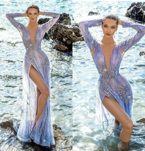 Full Beads Lace Mermaid Prom Dresses Sexy Deep V Neck Crystal High Split Evening Gowns Custom Made Luxury Robe De Soiree