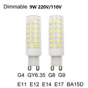 Cgjxs Диммируемый Led Лампа G4 GY6 +0,35 G8 G9 E11 E12 E14 E17 BA15D 110v 220v 9w 2835 светодиодные лампы Заменить галогенные