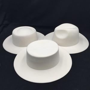 Wolle Filz Frauen Hüte Weiß Wide Brim Fedoras für Hochzeit Party Hats Fedora Damenkappen