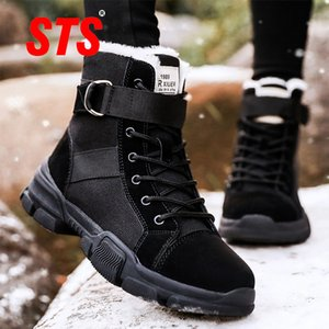 STS Women's Winter Snows Boots Fashion Shoe With Fur Keep Warm Outdoor Casual Sports Ankle Boot Comfortable Footwear Plus Size