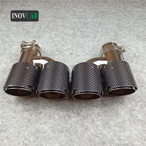 Универсальный OD 76mm 2 шт H Стиль L R Double Glossy Black Carbon Fiber Auto выхлопной трубы Конец Советы для всех автомобилей