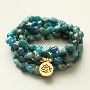 EDOTHALIA naturel non façonnés apatite Pierre 108 Perles Mala Bracelet Femmes Hommes Lovers Yoga Méditation Bracelet Y200810